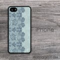 Lace pattern teal blue gray iPhone hard case