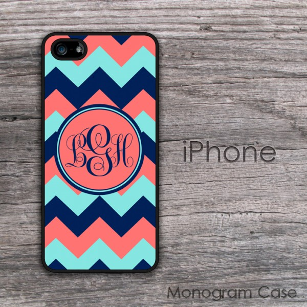 coral and navy chevron  monogrammed iPhone cases