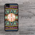 Navaho pattern orange label monogrammed iPhone