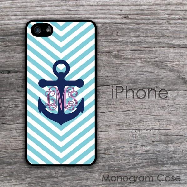 Nautical preppy turquoise chevron monogram iPhone 5S