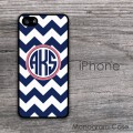 Navy blue chevron circle monogram cell phone case