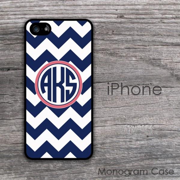 Navy blue chevron circle monogram cell phone case