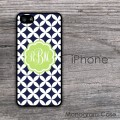 Navy blue diamond pattern lime label monogrammed iPhone cover