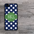Navy blue polka dots with carolina green monogrammed iPhone 6 cover