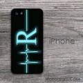 Nurse monogrammed iPhone hard case with neon heartbeat