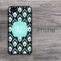 Peacock pattern aquamarine black monogrammed iPhone