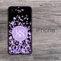 Purple sparkles lavender bokeh monogrammed iPhone case