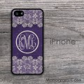Purple vintage background iPhone case with white lace