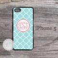 Soft blue quatrefoil pattern iPhone case