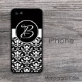 Black damask monogrammed all iPhone case