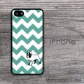 Teal chevron frenchie customized iPhone cover