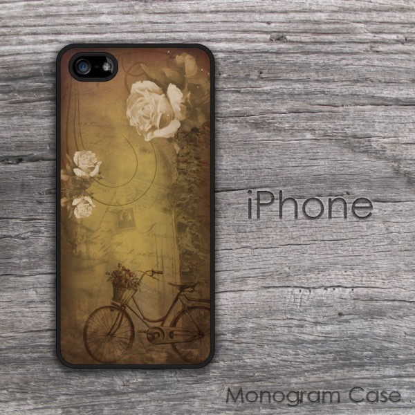 Vintage bike and basket with roses design cell phone case