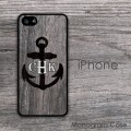 Wood style black anchor print monogrammed phone cover