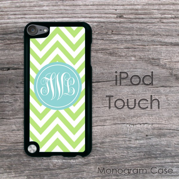 Apple green and light blue label monogrammed iPod touch case