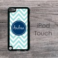 Soft blue iPod  chevron case with navy blue circle design