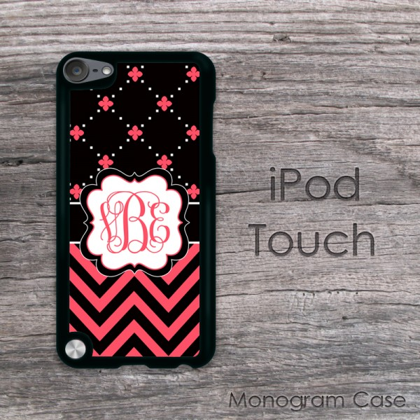 Black and coral set design iPod touch case