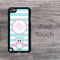 Cute owl and blue stripes design iPod hard case