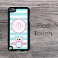 Cute owl and blue stripes design iPod hard case