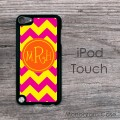 Curlz monogrammed hot pink yellow iPod cover