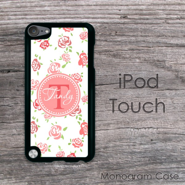 Retro roses print iPod touch case blush pink label