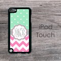 Cute  iPod hard case - mint polka dots on pink chevron grey art design