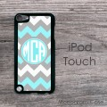 Gray turquoise white chevron circle monogram iPod cover