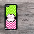 IPod touch case lime green pattern and hot pink chevron