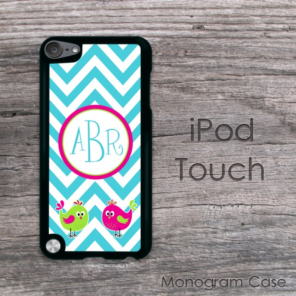 Love birds aquamarine chevron personalized iPod touch
