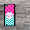 Magenta pattern monogram aquamarine chevron iPod touch