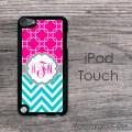 Magenta pattern monogram aquamarine chevron iPod touch