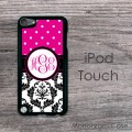 Magenta polka dots black white damask iPod cover