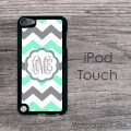 Mint charcoal white zig-zag pattern unique  iPod cover