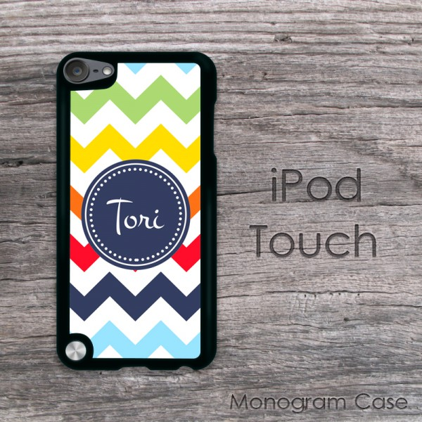 Multicolored blue red lime yellow chevron customized iPod touch case