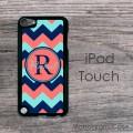 Navy coral aqua zig-zag chevron pattern personalized iPod