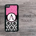 Pink and black damask personalied iPod hard case