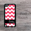 Bright pink chevron and black ribbon personalized iPod case