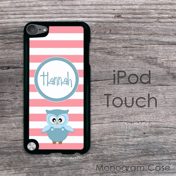 Coral stripes with blue owl iPod touch case