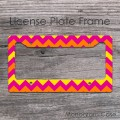 Yellow hot pink and orange colors design license car frame