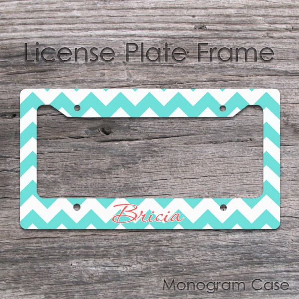 Aqua white chavron custommized license plate frame