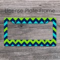 Apple green two shades blue chevron car tag frame