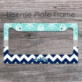 Aqumarine damask and navy blue chevron personalized car frame