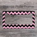 Baby pink and black chevron personalized license frame