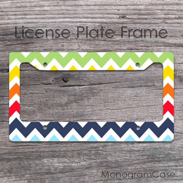 Colorful chevron front license frame