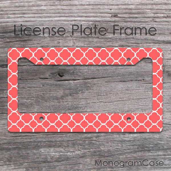 Coral monogram license plate frame