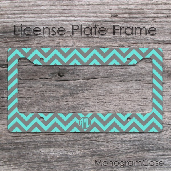 Dark grey and light teal chevron license plate frame