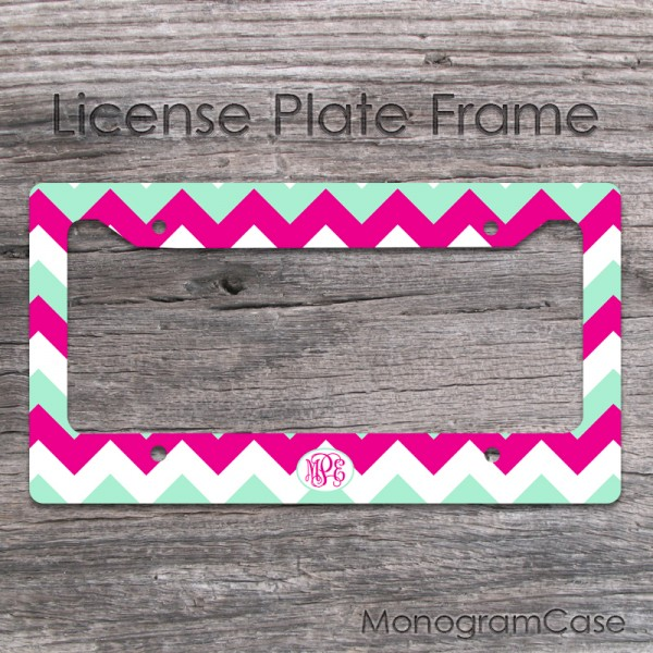 Fuschia and mint chevron monogrammed car tag