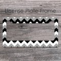 Grey and black chevron monogram license car frame