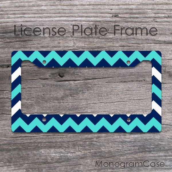 Light turquoise navy zig-zag designed car license frame