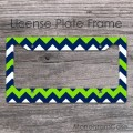 Lime NAVY blue chevron custom license plate