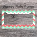 Mint coral white chevron license plate frame